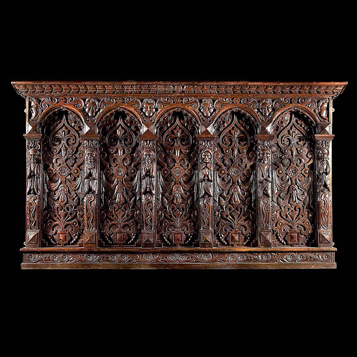 A Jacobean carved oak antique overmantel or headboard