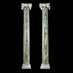 Antique pair of Cippolino Marble columns