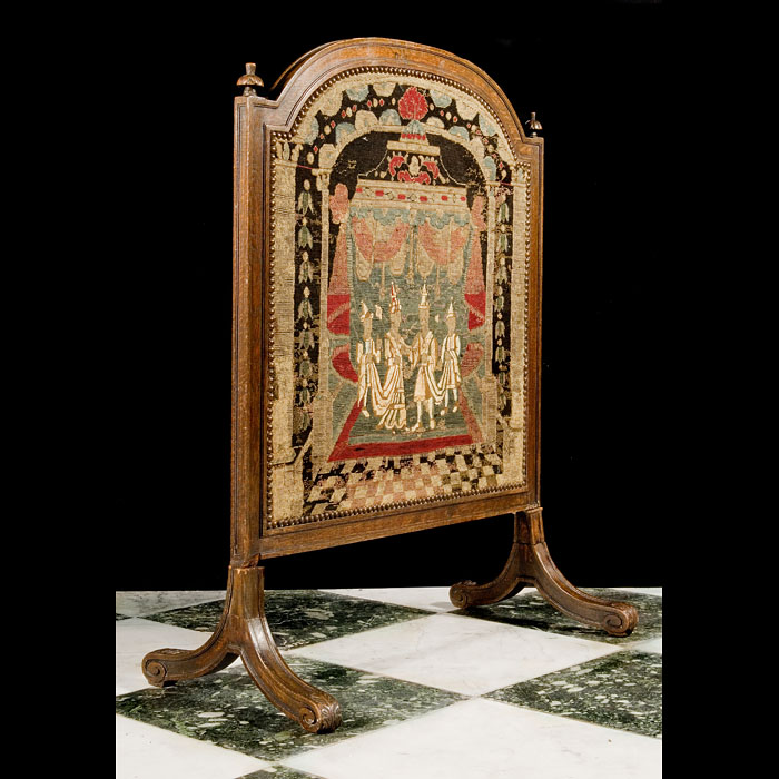Antique Baroque manner Oak Fire Screen with 18th century Tapestry