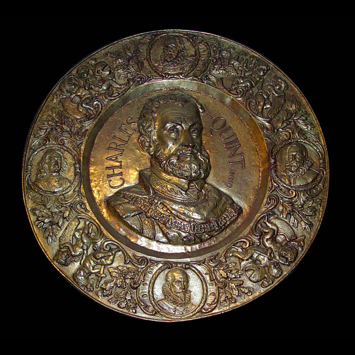 An antique Emperor Charles V brass relief plaque