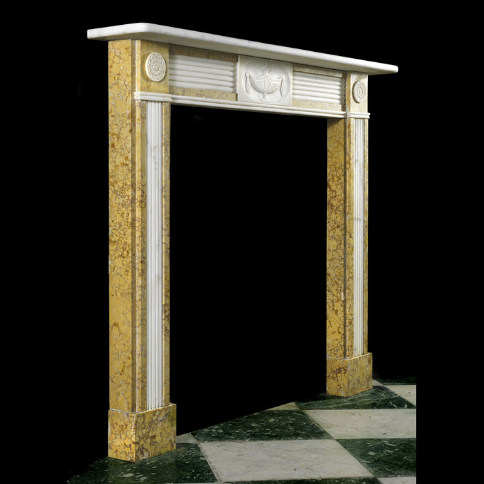 20th century Georgian style marble fireplace surround