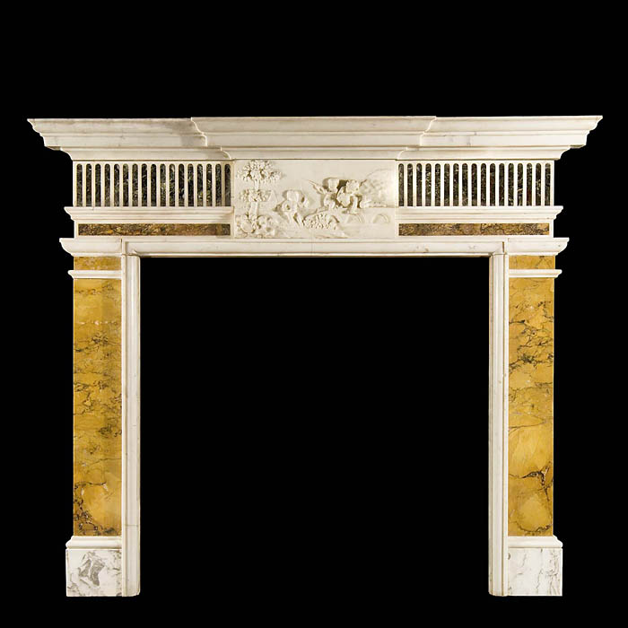 Antique English Neo Classical Sienna Marble Specimen Chimneypiece