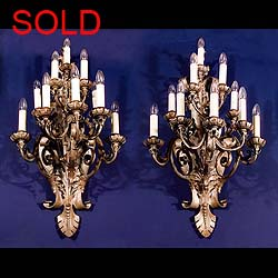 Ten branch Baroque style 1930s wall lights