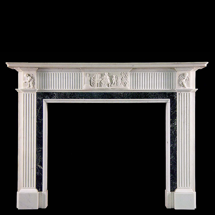 A Georgian style statuary marble fireplace surround