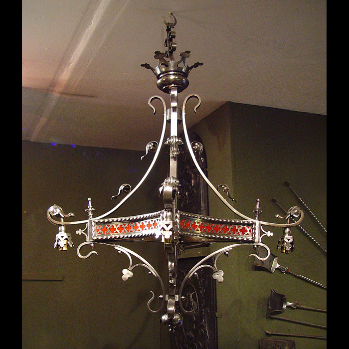 A Gothic Revival wrought iron French chandelier