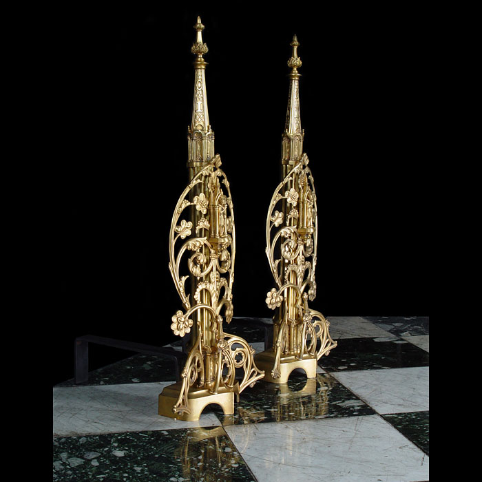 A Pair of Tall High Gothic Revival Gilt Bronze Antique Andirons