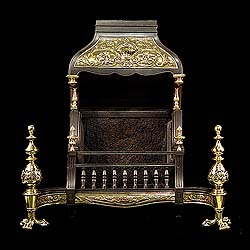 A Renaissance style Antique Hooded Fire Grate