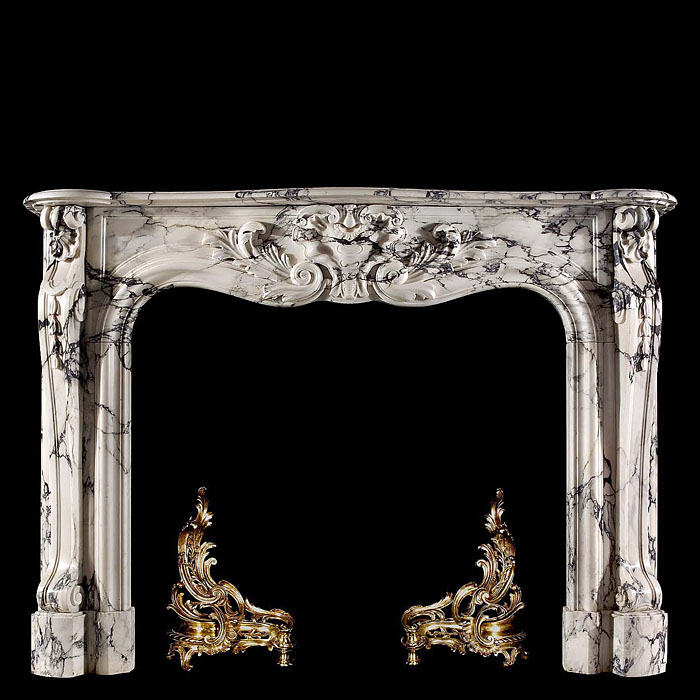 A French Rococo antique marble chimneypiece