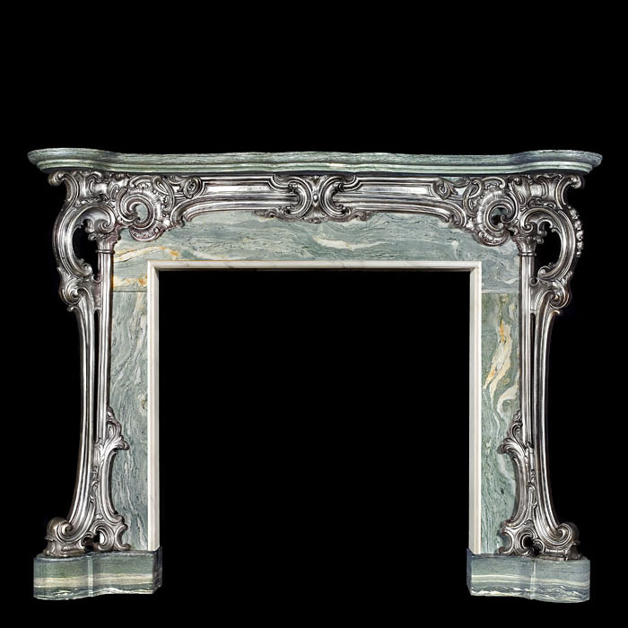Antique Cast Iron Rococo style Chimneypiece Mantel with a marble shelf & Ingrounds