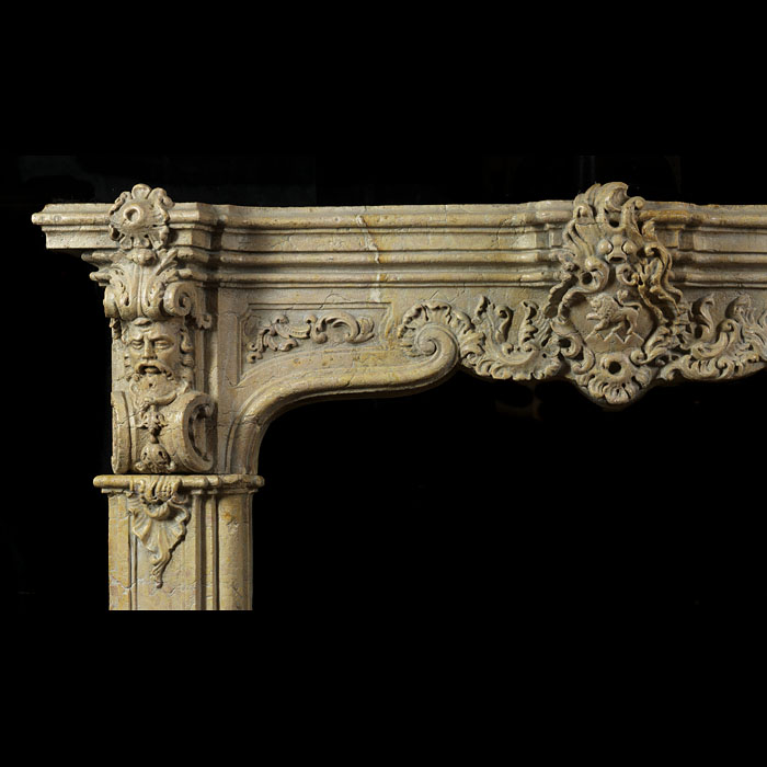 Antique Renaissance Revival marble fireplace mantel