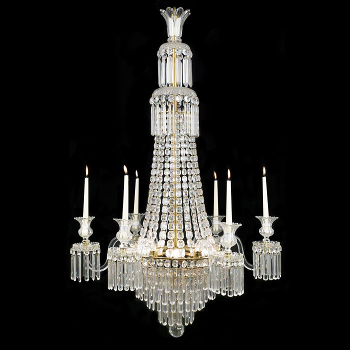An Antique six arm Regency cut glass chandelier