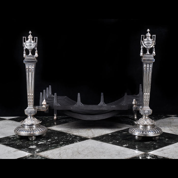 A fine pair of tall classical silver plated Victorian Andirons