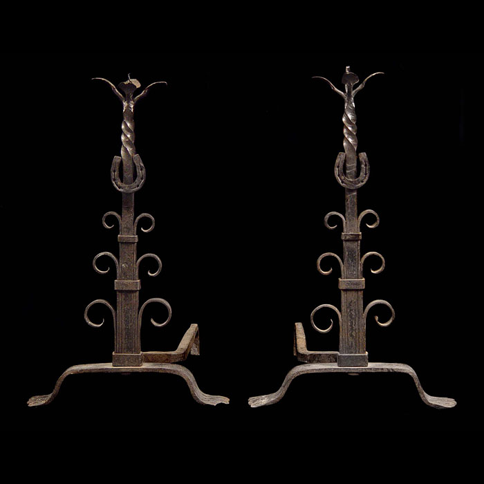 Arts & Crafts Pair of Wrought Iron Andirons