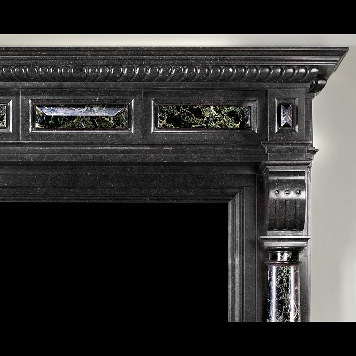 Flemish Black Fossil and Tinos Green Marble Chimneypiece