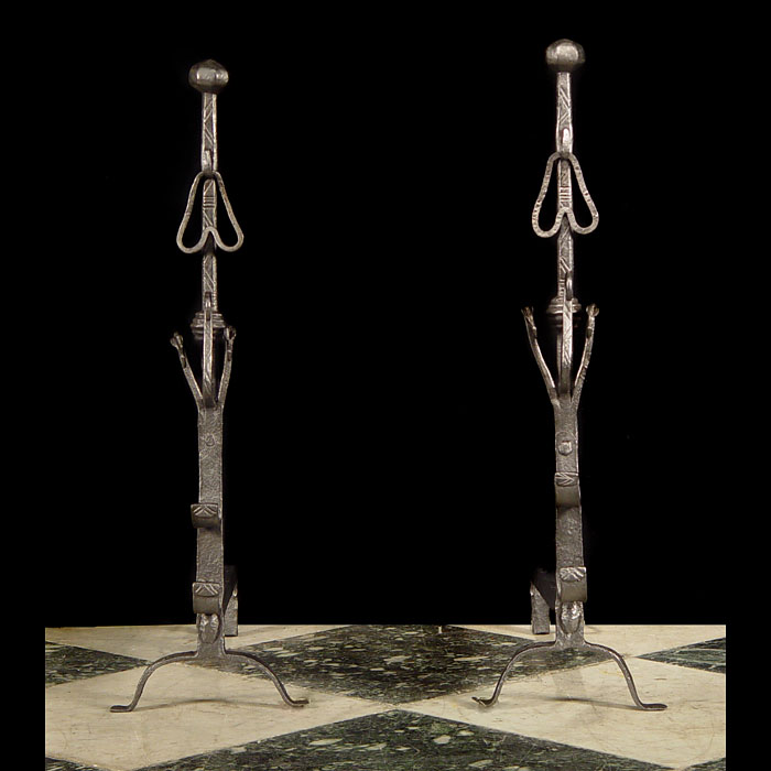 A Pair of Jacobean Style Tall Andirons