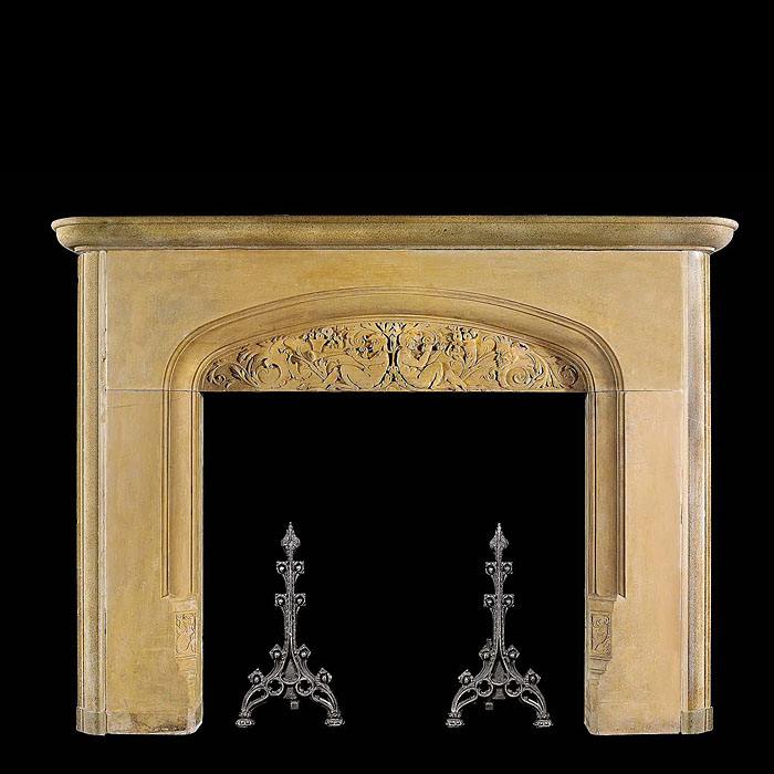 An Arts & Crafts antique stone fireplace surround