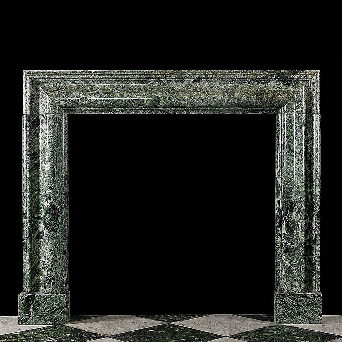 A Large Antique Bolection Maurin Green Marble Fireplace Surround