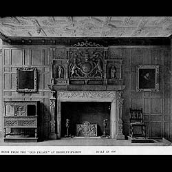 Kirkdale Manor carved oak Jacobean Revival antique fireplace surround
