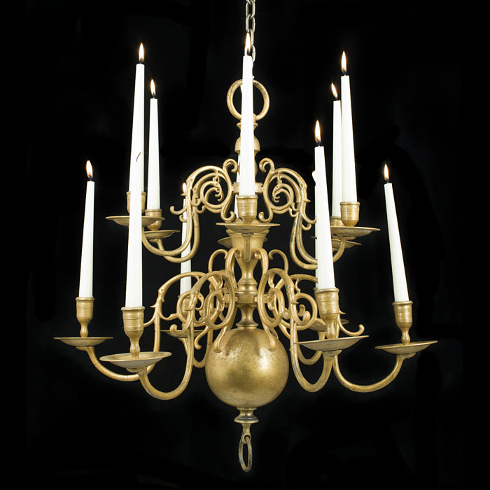 Early 19th century antique Dutch Baroque style brass chandelier