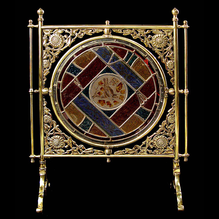 English Aesthetic Movement leaded glass and brass firescrfeen
