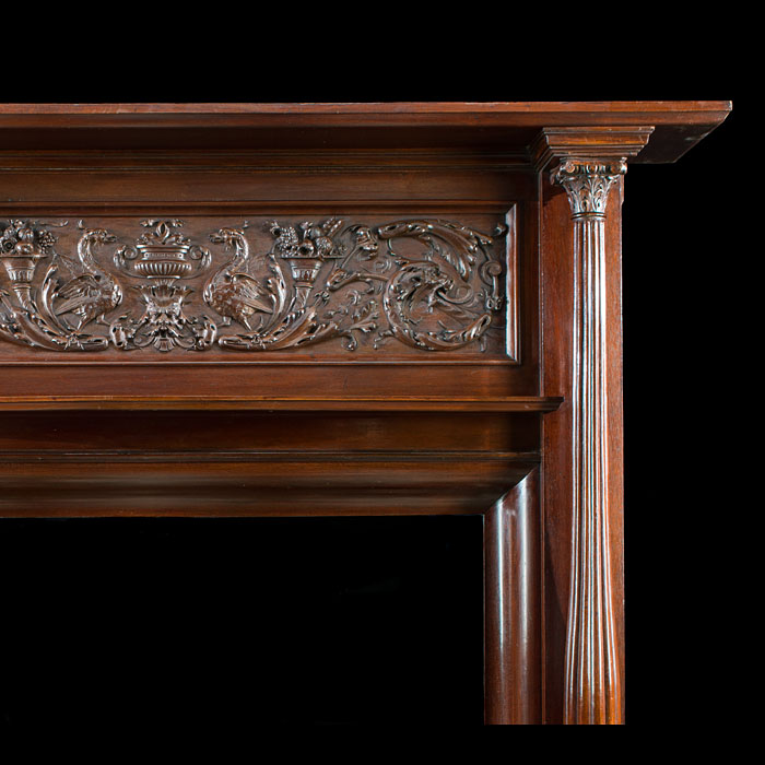 An antique Renaissance Revival mahogany Fireplace Surround
