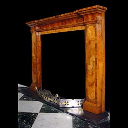 art deco marquetry specimen wood fireplace mantel