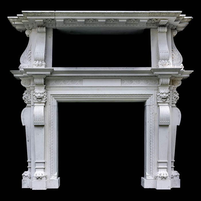 9169: This replica chimneypiece is on a spectacularly large scale and is carved in glorious limestone in the richest Italian Renaissance manner.  The form and features showing direct inspiration from Pagan