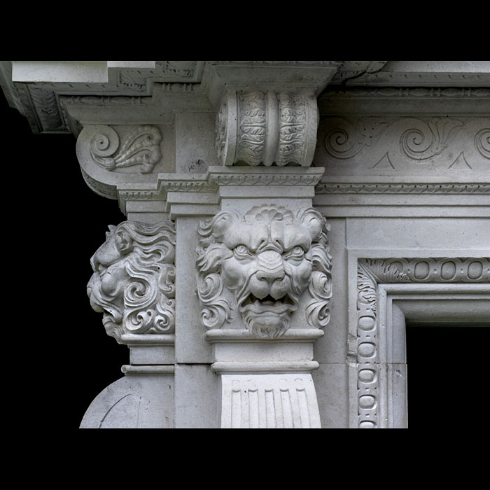 A 20th century replica of an Italian Renaissance chimneypiece
