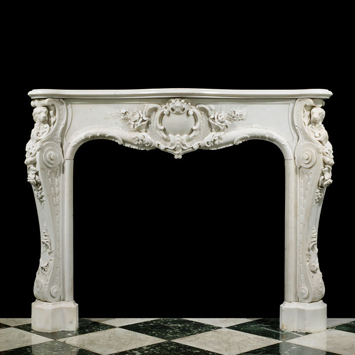 Statuary Marble English Rococo Fireplace