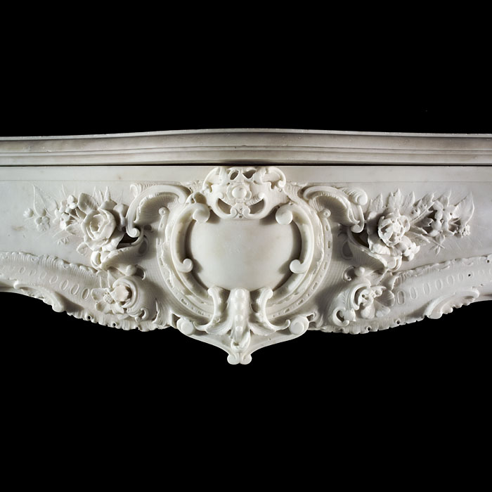 English Antique 18th Century Rococo Fireplace Mantel With Water Spaniel Heads