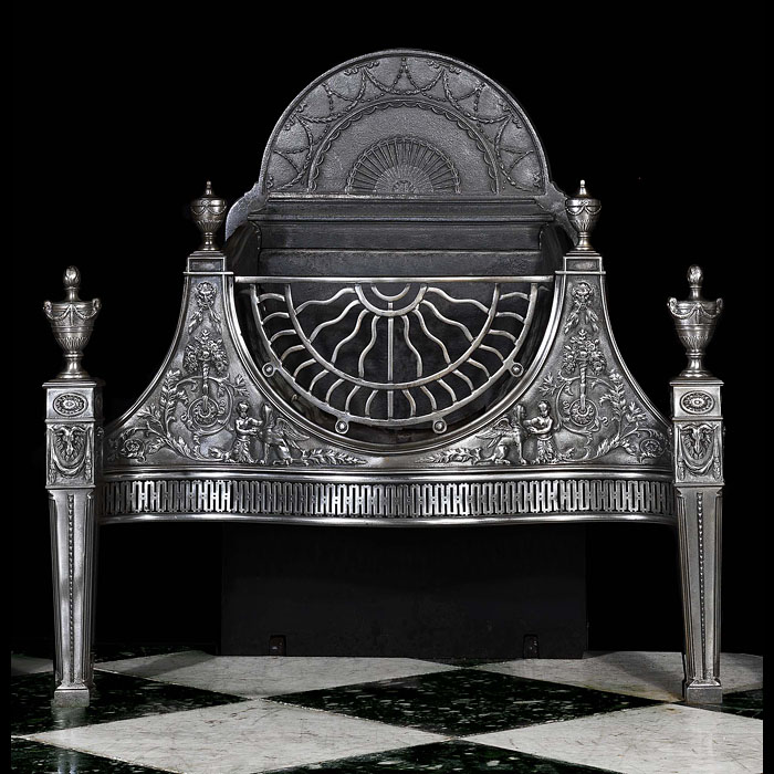 A grand Adam style Carron cast iron Antique Fire Grate