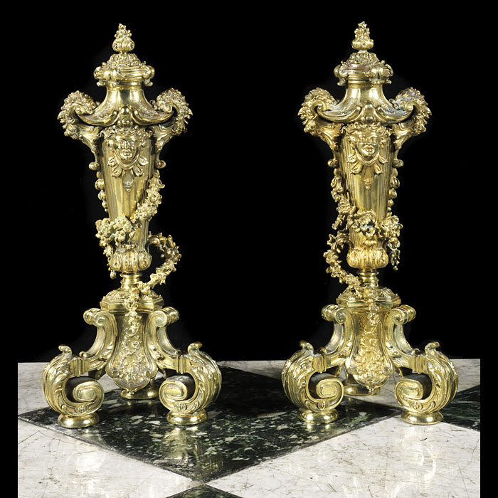 Antique Chenets in Louis XVI style cast in Gilt Bronze