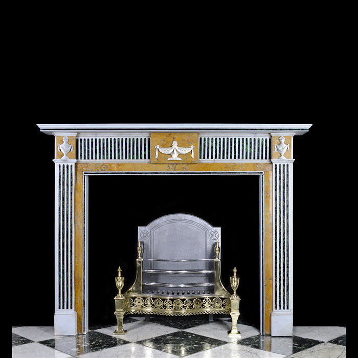 Antique Robert Adam Statuary,Sienna marble & Scagliola inlaid Chimneypiece