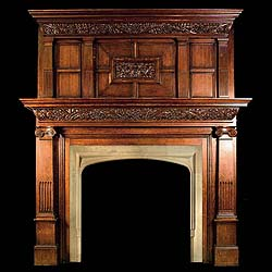 Antique jacobean gothic tudor revival antique oak for Tudor style fireplace