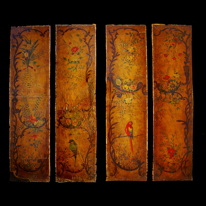 A Set of Four Leather Rococo Style Panels