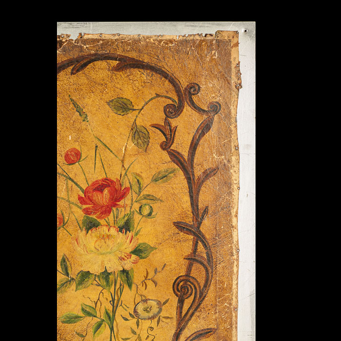 Antique Set of Four Leather Rococo Panels with Flowers and Parrots