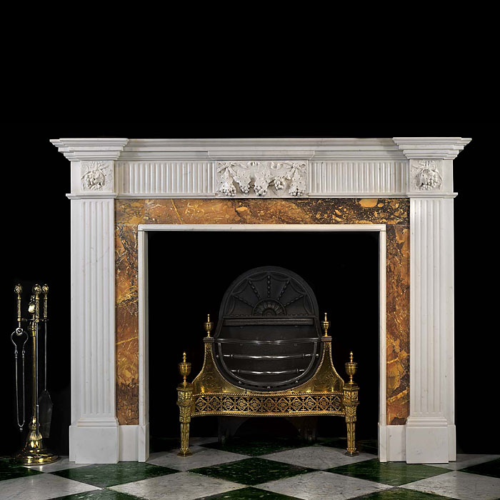 Antique Neo Classical Statuary Marble Chimneypiece with Sienna Ingrounds
