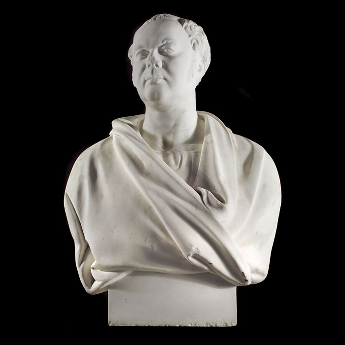 A large statuary marble bust of a gentleman