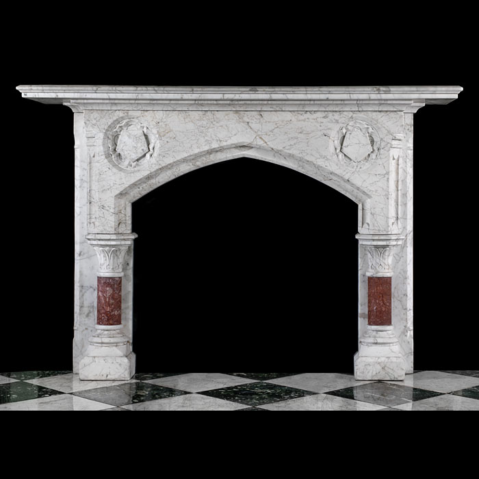 A Gothic Revival fireplace mantel in Old English Marble