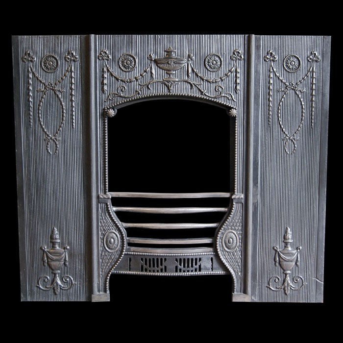 A late Georgian style Antique three panelled cast iron Fireplace Insert