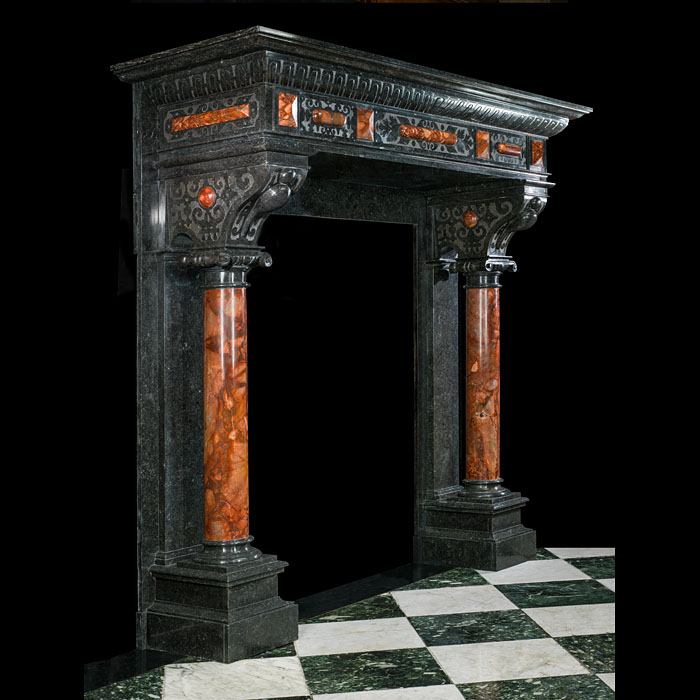 Antique Flemish Black Fossil Marble Renaissance style fireplace.
