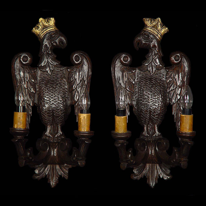 Victorian pair of wood eagle wall lights
