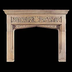Gothic Revival Yorkstone Fireplace Mantel