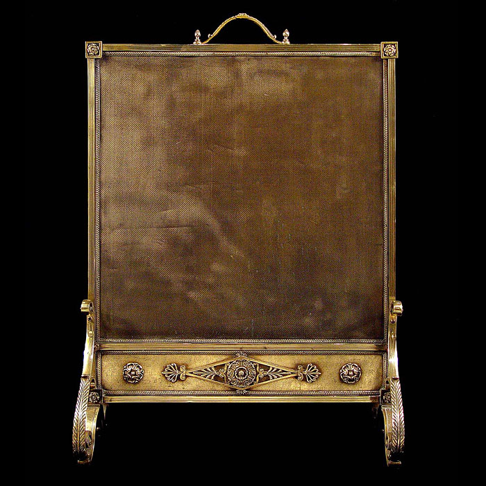A French antique brass fireguard