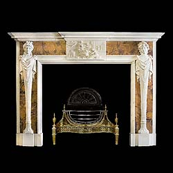 9400: A large and decorative white and sienna marble caryatid Neo-Classical style chimneypiece in the manner of Sir Henry Cheere(1702-1781), the central tablet depicting 'The Toilette of Venus' please refer