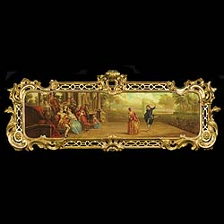 Antique French Period Rococo Gilt Wood Frame and Painting  This Ornate period Rococo frame in Giltwood surround a beautiful painting of a Fete Champetre, with musicians and actors. 18th century Frame and 19th century Painting.