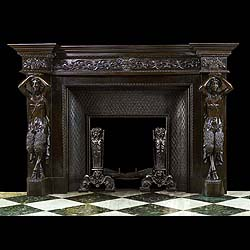 Antique French carved Ebony Wood Satyr Fireplace Mantel