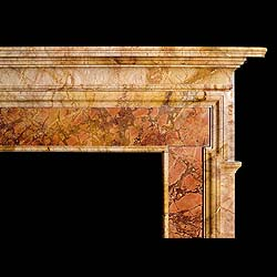 A large antique Palladian marble fireplace mantel