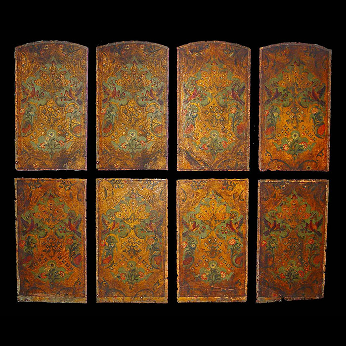 A set of Victorian embossed and leather panels