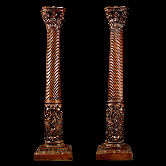 An antique pair of Italian Renaissance style columns